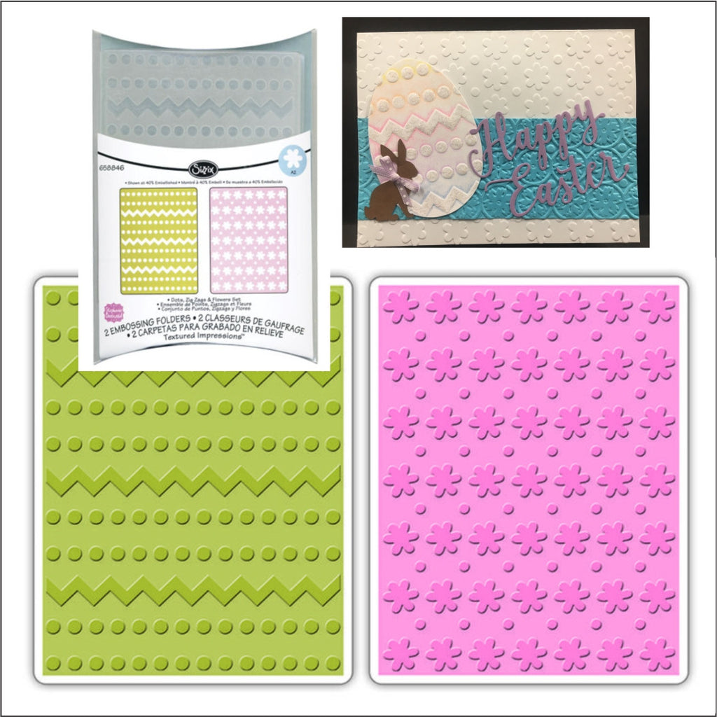 Dots,Zig Zags, and Flowers embossing folder set by Sizzix embossing folders 658846