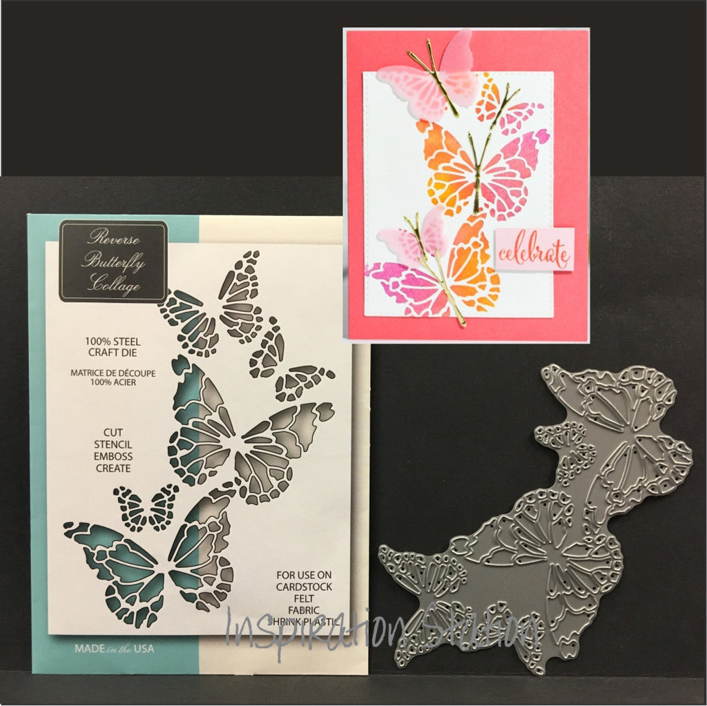 Inspiration Station Reverse Butterfly Collage metal die by Memory Box dies 99145
