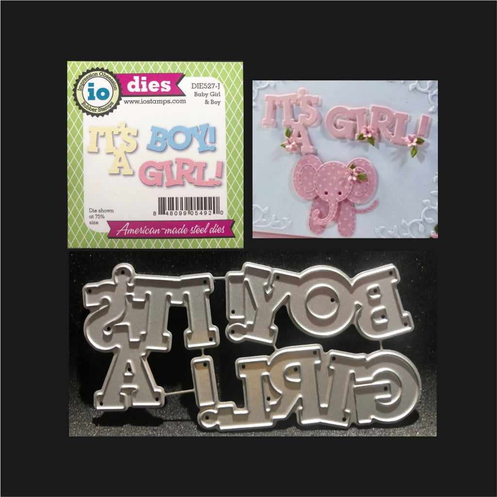 Baby Girl & Boy Words Metal Die Set by Impression Obsession Dies DIE527-I - Inspiration Station Scrapbook Store & Retreat