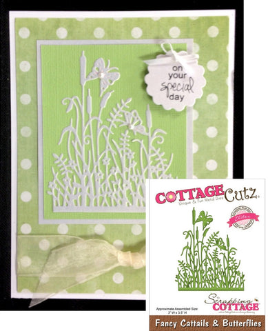 Fancy Cattails & Butterflies Metal Die Cut By Cottage Cutz - Inspiration Station Scrapbook Store & Retreat