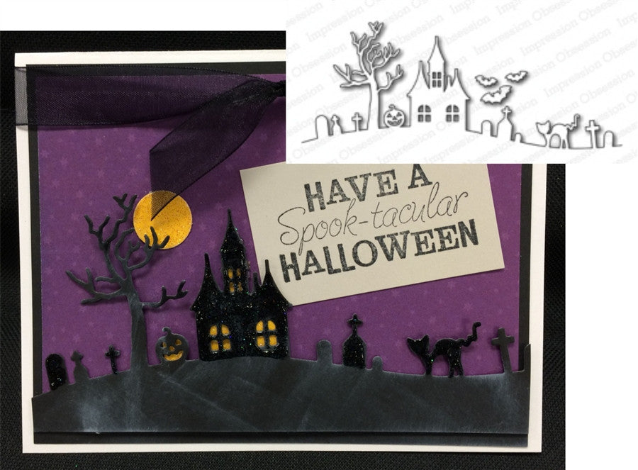 HALLOWEEN HILL Metal Die Cut by Impression Obsession - Inspiration Station Scrapbook Store & Retreat