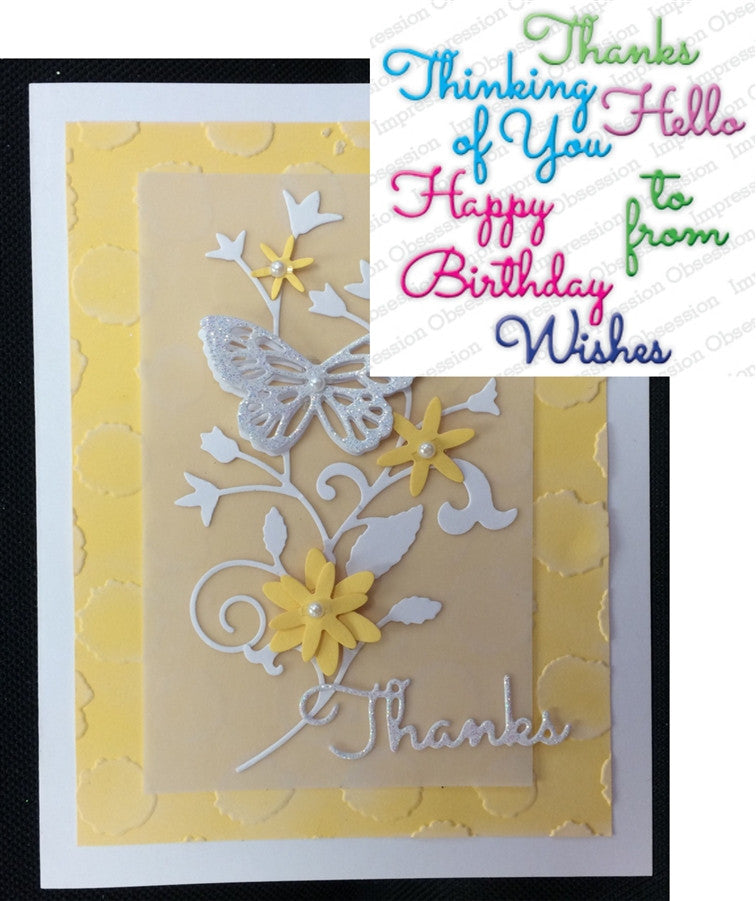 GREETINGS SET by IMPRESSION OBSESSION DIE174-W Die set - Inspiration Station Scrapbook Store & Retreat