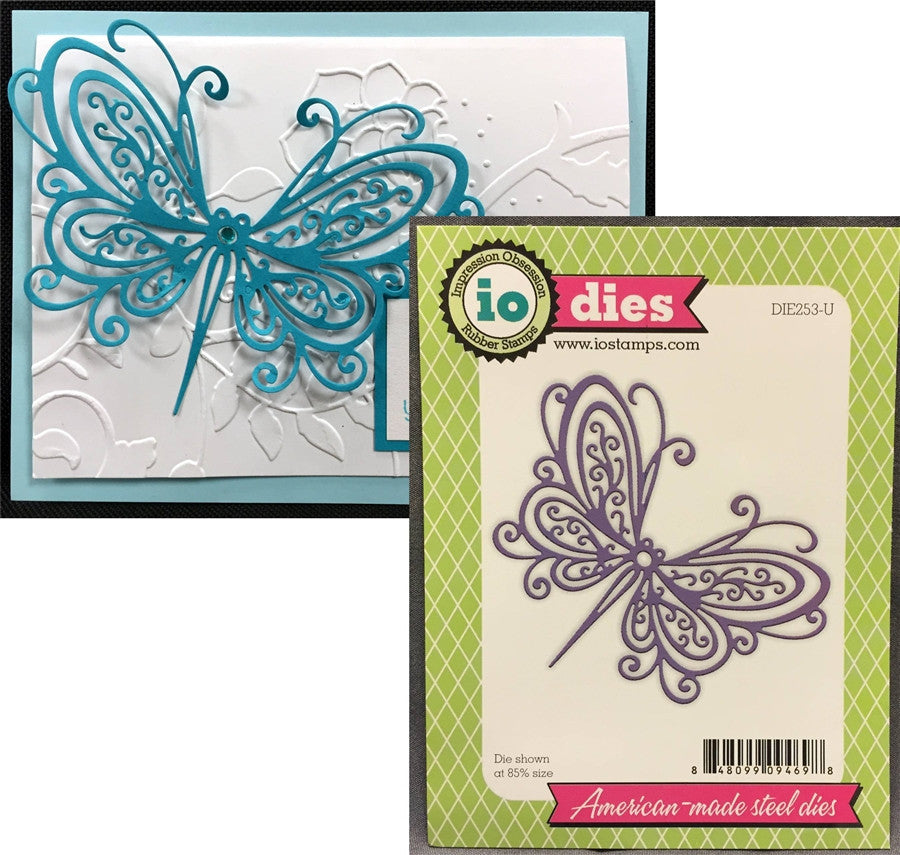 OPEN SCROLL BUTTERFLY Steel Die by IMPRESSION OBSESSION DIE253-U - Inspiration Station Scrapbook Store & Retreat