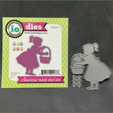 GIRL WITH BASKET Die Cut Set by IMPRESSION OBSESSION DIE260-I - Inspiration Station Scrapbook Store & Retreat