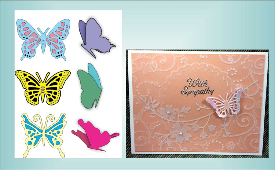 Small Exotic Butterflies #1 Small with Angel Wings Die Cut Set by Cheery Lynn - Inspiration Station Scrapbook Store & Retreat