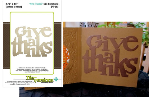 Give Thanks Sentiment Metal Die by Die-Versions DVJ-053 - Inspiration Station Scrapbook Store & Retreat