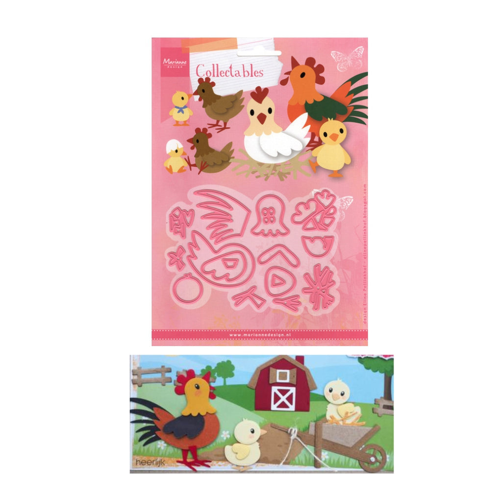 Eline's Chickens Metal Die Cut Set by Marianne Design Dies COL1429 - Inspiration Station Scrapbook Store & Retreat