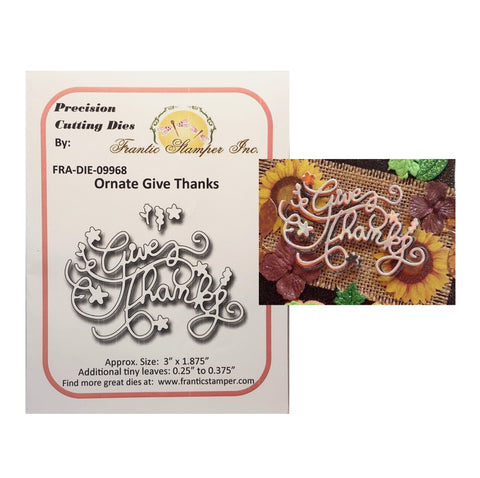 Ornate Give Thanks metal Die Cut Frantic Stamper Cutting Dies FRA-DIE-09968