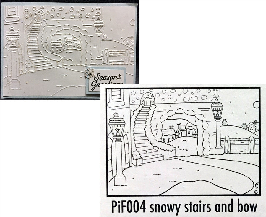 SNOWY STAIRS AND BOW by NELLIE SNELLEN PiF004 - Inspiration Station Scrapbook Store & Retreat