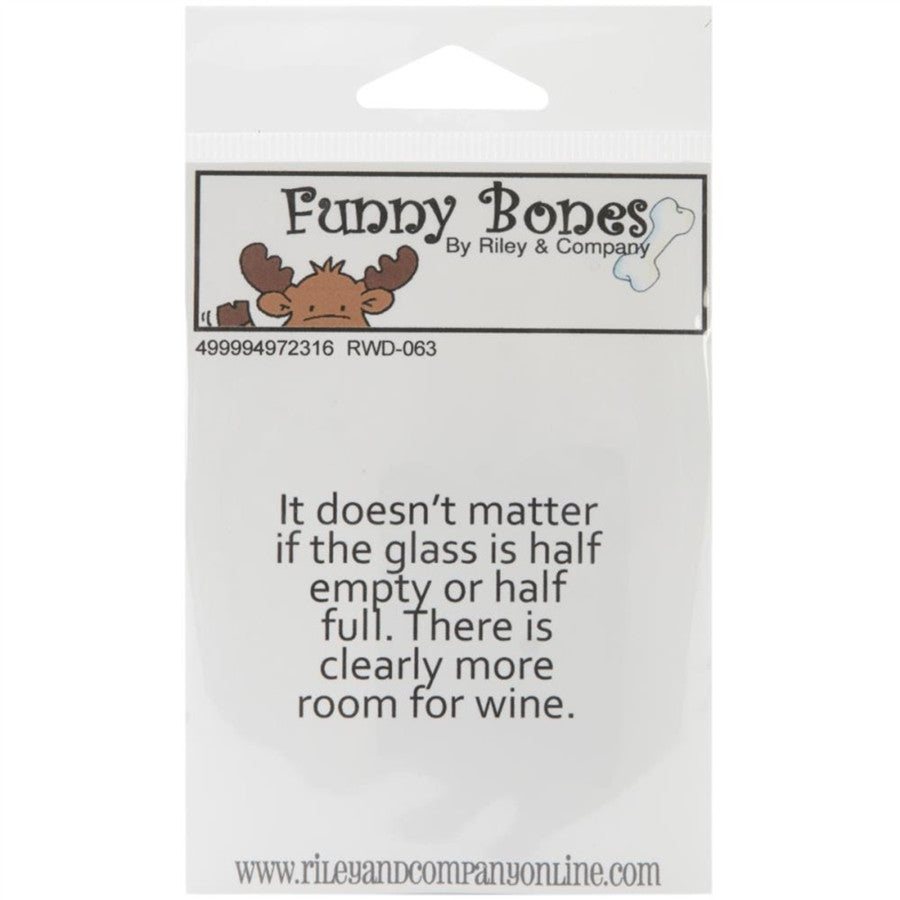 The Glass Is Half Empty RWD063 Funny Cling Stamp By Riley and Company - Inspiration Station Scrapbook Store & Retreat