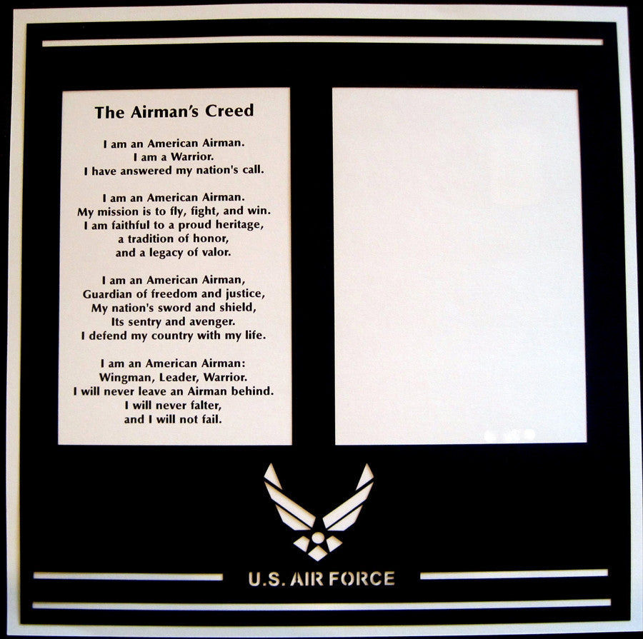 MILITARY- The Airman's Creed - 12x12 Laser Die Cut Scrapbook Page - Inspiration Station Scrapbook Store & Retreat