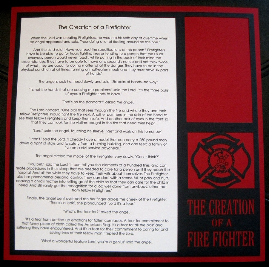The Creation Of A Firefighter - 12x12 Laser Die Cut Scrapbook Page - Inspiration Station Scrapbook Store & Retreat