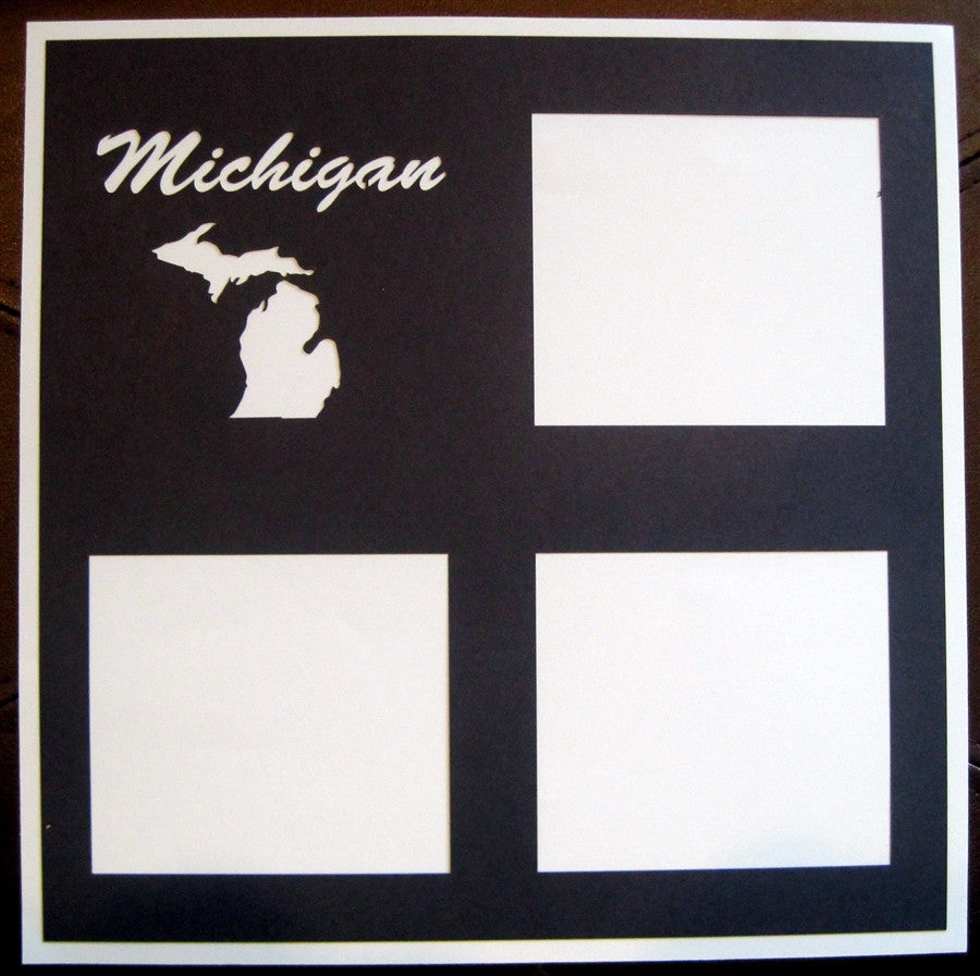 Michigan - 12x12 Laser Die Cut Scrapbook Page - Inspiration Station Scrapbook Store & Retreat