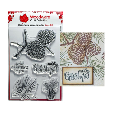 Sketchy Pine Cones Clear cling stamp set by Woodware craft stamps