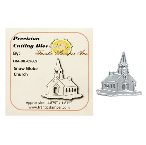 Snow Globe Church Metal Die Cut by Frantic Stamper Dies FRA-DIE-09669