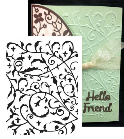 FEATHERED FLOURISH by ULTIMATE CRAFTS Limited Edition Embossing Folder ULT157115 - Inspiration Station Scrapbook Store & Retreat