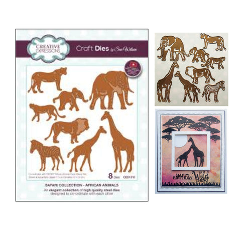 African Animals Safari Collection Die Cut Set by Sue Wilson for Creative Expressions CED1310 - Inspiration Station Scrapbook Store & Retreat