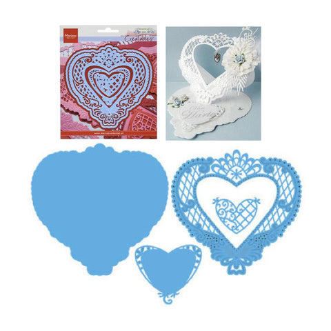 Anja's Filigree Heart Frames Metal Die Cut by Marianne cutting dies