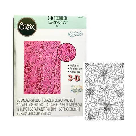 Azaleas 3-D Embossing Folder by Courtney Chilson for Sizzix Embossing Folders 663601 - Inspiration Station Scrapbook Store & Retreat