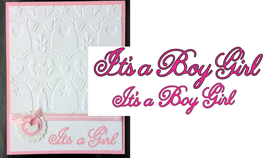 IT'S A BOY GIRL Word Phrase Die Cut (Set of 2) by Cheery Lynn Designs Dies B250 - Inspiration Station Scrapbook Store & Retreat