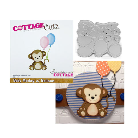 Baby Monkey With Balloons Metal Die Set by Cottage Cutz CC-292 - Inspiration Station Scrapbook Store & Retreat