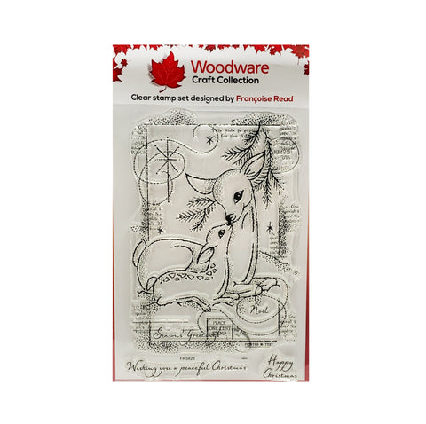 Christmas Deer Clear cling stamp set Baby Dear by Woodware craft stamps FRS828