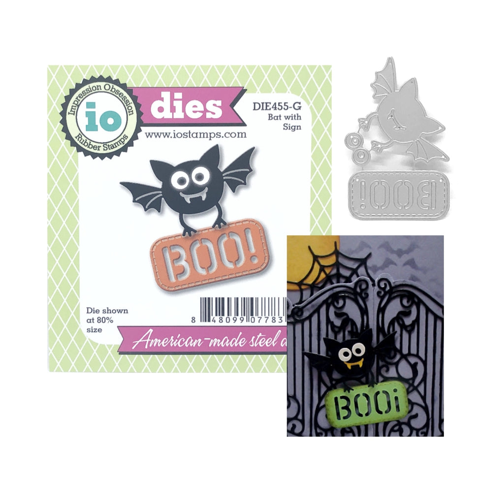Bat With Sign Die Cut Set by Impression Obsession Dies DIE455-G - Inspiration Station Scrapbook Store & Retreat