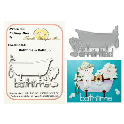 Bathtime & Bathtub Steel Craft Die Set by Frantic Stamper Dies FRA-DIE-10643 - Inspiration Station Scrapbook Store & Retreat