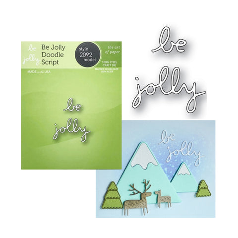 Be Jolly Doodle Script Word Die Cut Set by Poppystamps Dies 2092 - Inspiration Station Scrapbook Store & Retreat
