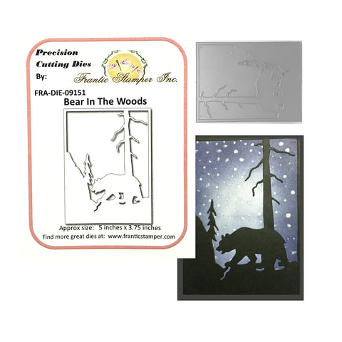 Bear In The Woods Card Panel Die by Frantic Stamper Dies FRA-DIE-09151 - Inspiration Station Scrapbook Store & Retreat
