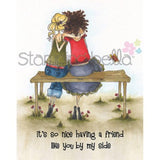 Uptown Girl Belinda and Bernadette The Bench Buddies Cling Rubber Stamp by Stamping Bella