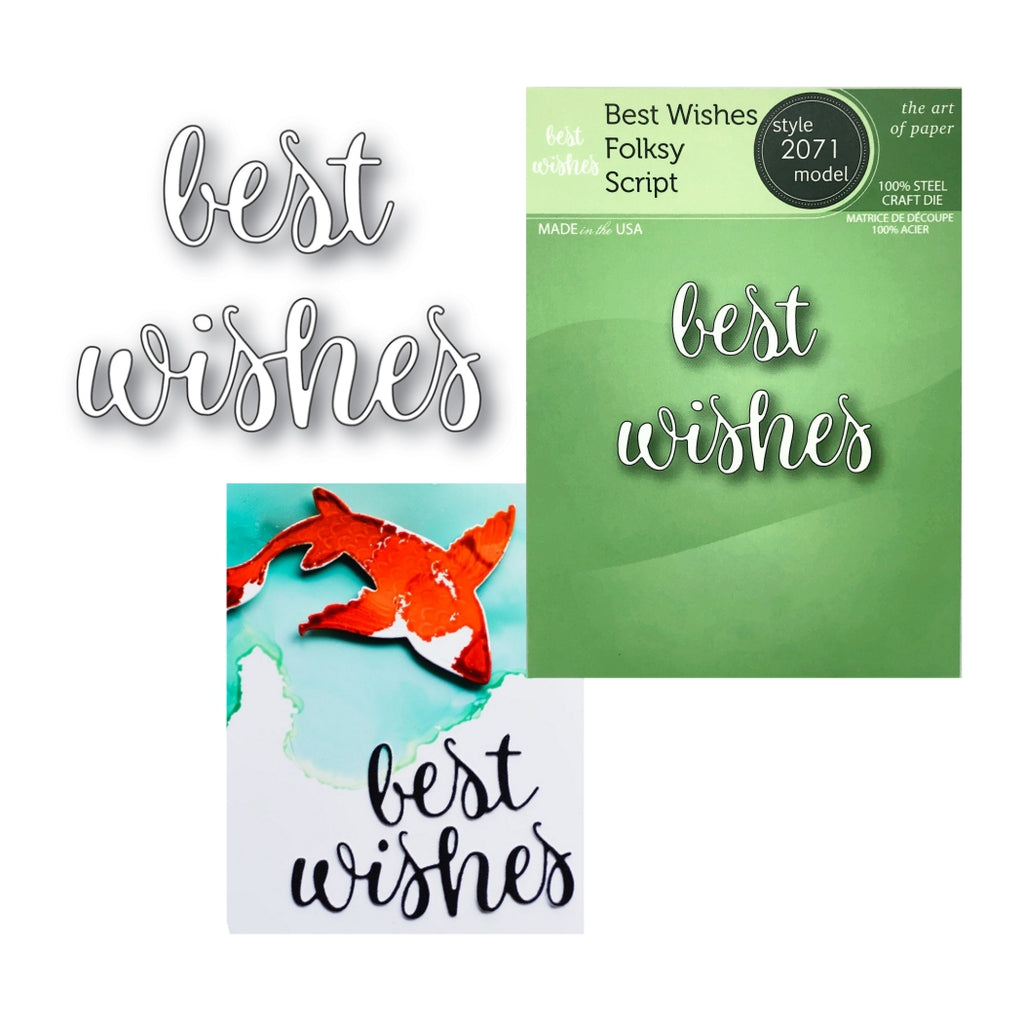 Best Wishes Folksy Script Word Die Cut Set by Poppystamps Dies 2071 - Inspiration Station Scrapbook Store & Retreat