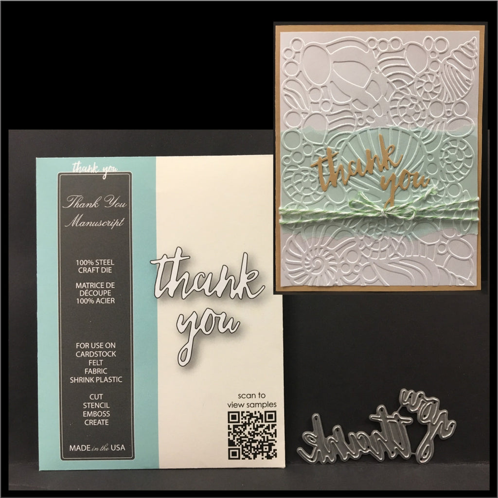 Thank You Manuscript metal die by Memory Box dies 99651