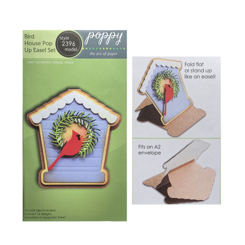 Bird House Pop Up Easel Card Metal Die Cut Set by Poppystamps Cutting Dies 2396