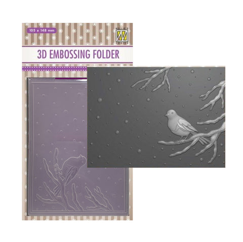 Bird on Branch 3D Embossing Folder by Nellie Snellen Embossing Folders EF3D016