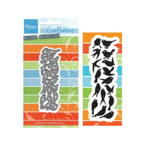 Tiny Birds Silhouette Metal Die Cut Set by Marianne Craft dies CR1398
