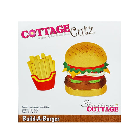 Build-A-Burger Metal Die Cut Hamburger & Fries cutting dies By Cottage Cutz