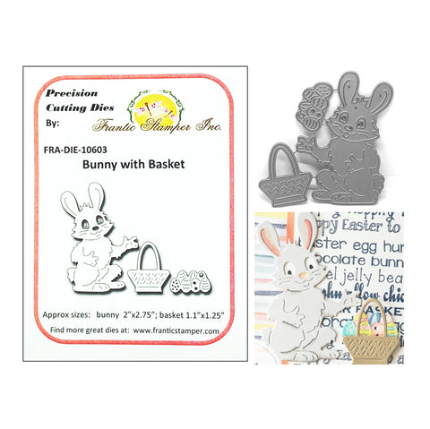 Bunny With Basket Metal Die Cut Set by Frantic Stamper Dies FRA-DIE-10603 - Inspiration Station Scrapbook Store & Retreat