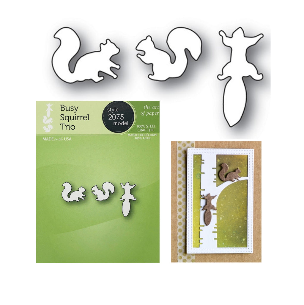 Busy Squirrel Trio Die Cut Set by PoppyStamps Dies 2075 - Inspiration Station Scrapbook Store & Retreat