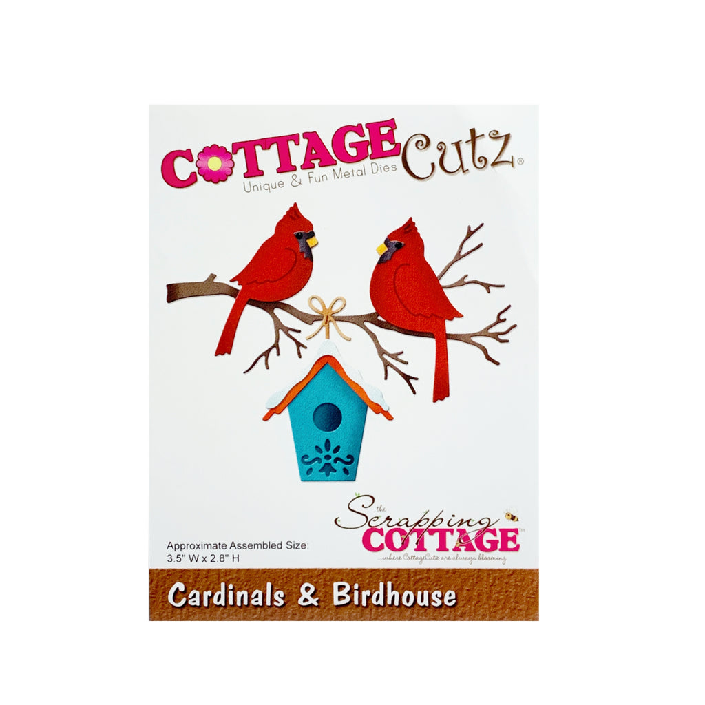 Cardinals and Birdhouse Metal Die Cut By Cottage Cutz craft Dies