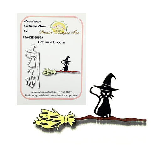 Cat On A Broom Metal Die Set by Frantic Stamper Dies FRA-DIE-10679 - Inspiration Station Scrapbook Store & Retreat