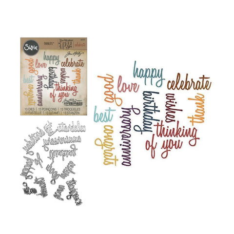 Celebration Words: Script Thinlits Metal Die Set by Sizzix 660223 - Inspiration Station Scrapbook Store & Retreat