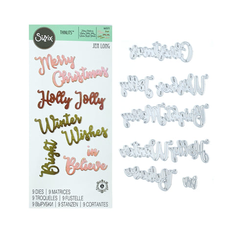 Christmas Phrases Thinlits Metal Die Set by Sizzix 663171 - Inspiration Station Scrapbook Store & Retreat