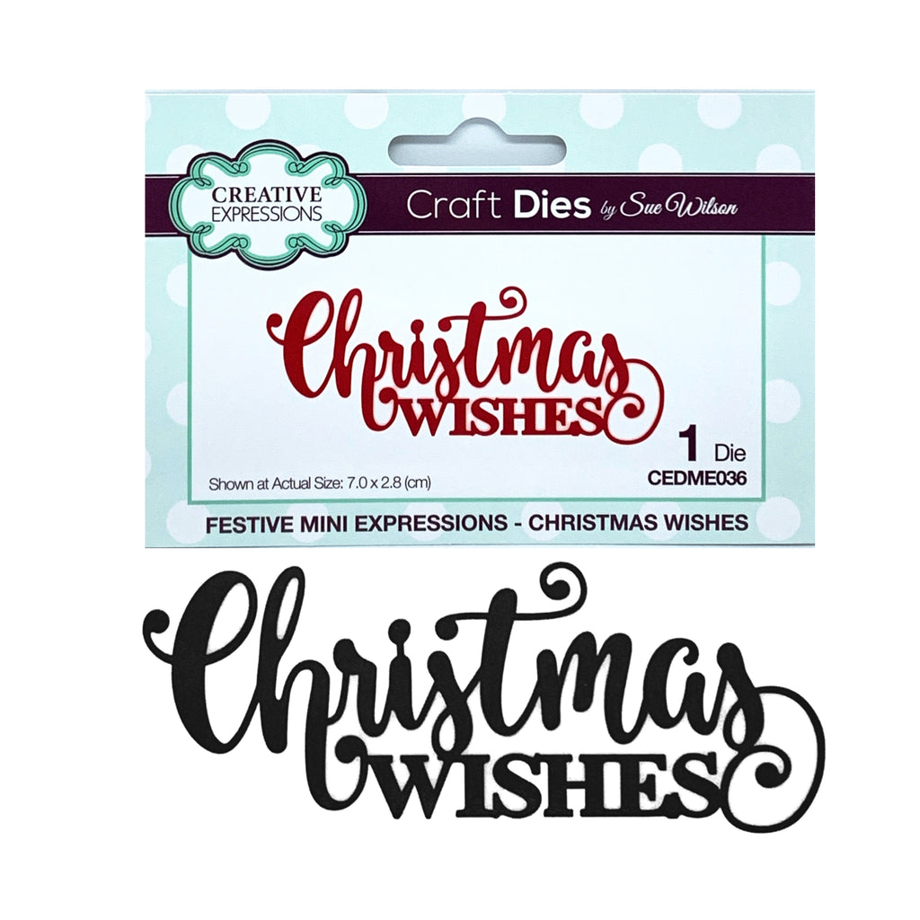 Christmas Wishes Thin Metal Phrase Die by Sue Wilson for Creative Expressions Craft Dies CEDME036 - Inspiration Station Scrapbook Store & Retreat