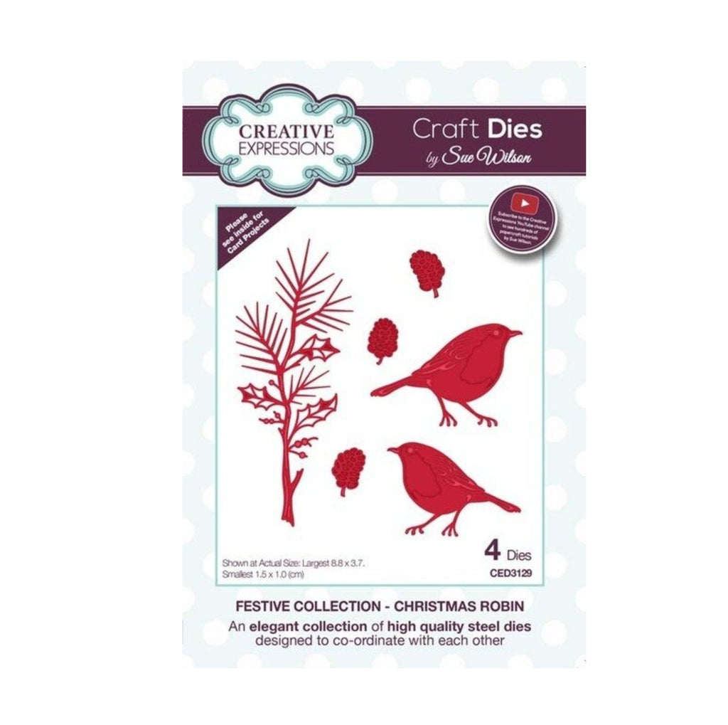 Christmas Robin Die Cut Set by Sue Wilson for Creative Expressions Craft Dies CED3129