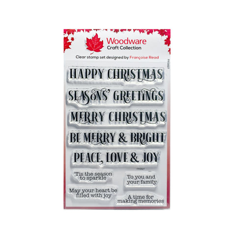 Christmas Sparkle Clear cling stamp set by Woodware craft stamps