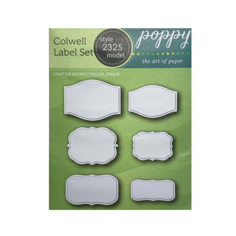 Colwell Label Set metal craft die cuts by Poppystamps dies 2325