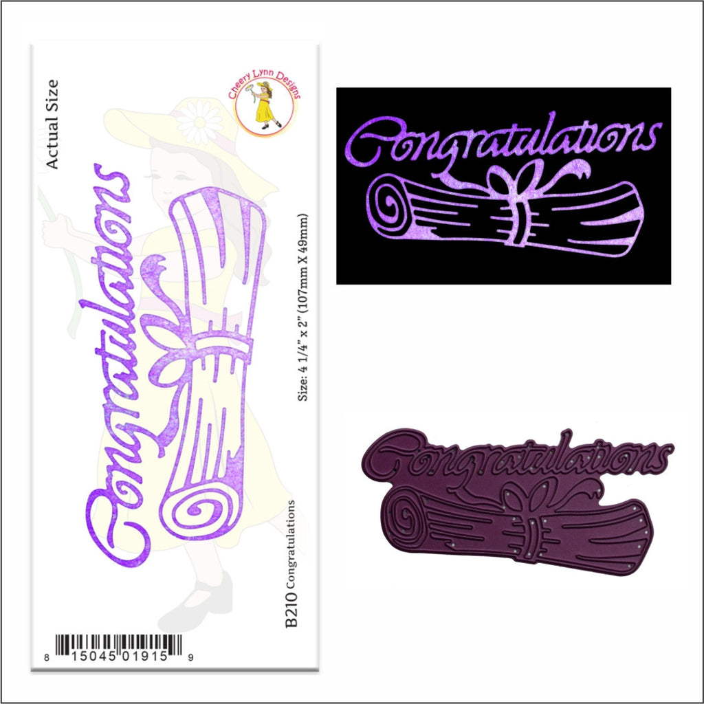 Cheery Lynn Designs - Metal Craft Die - CONGRATULATIONS WITH SCROLL - B210