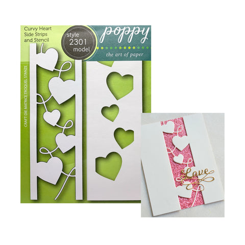 Curvy Heart Side Strips and StencilMetal Die by Poppystamps Dies 2301 - Inspiration Station Scrapbook Store & Retreat