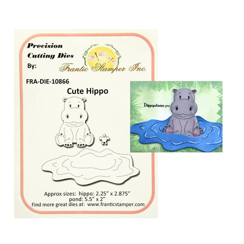 Cute Hippo Metal Die Cut by Frantic Stamper craft Dies FRA-DIE-10866